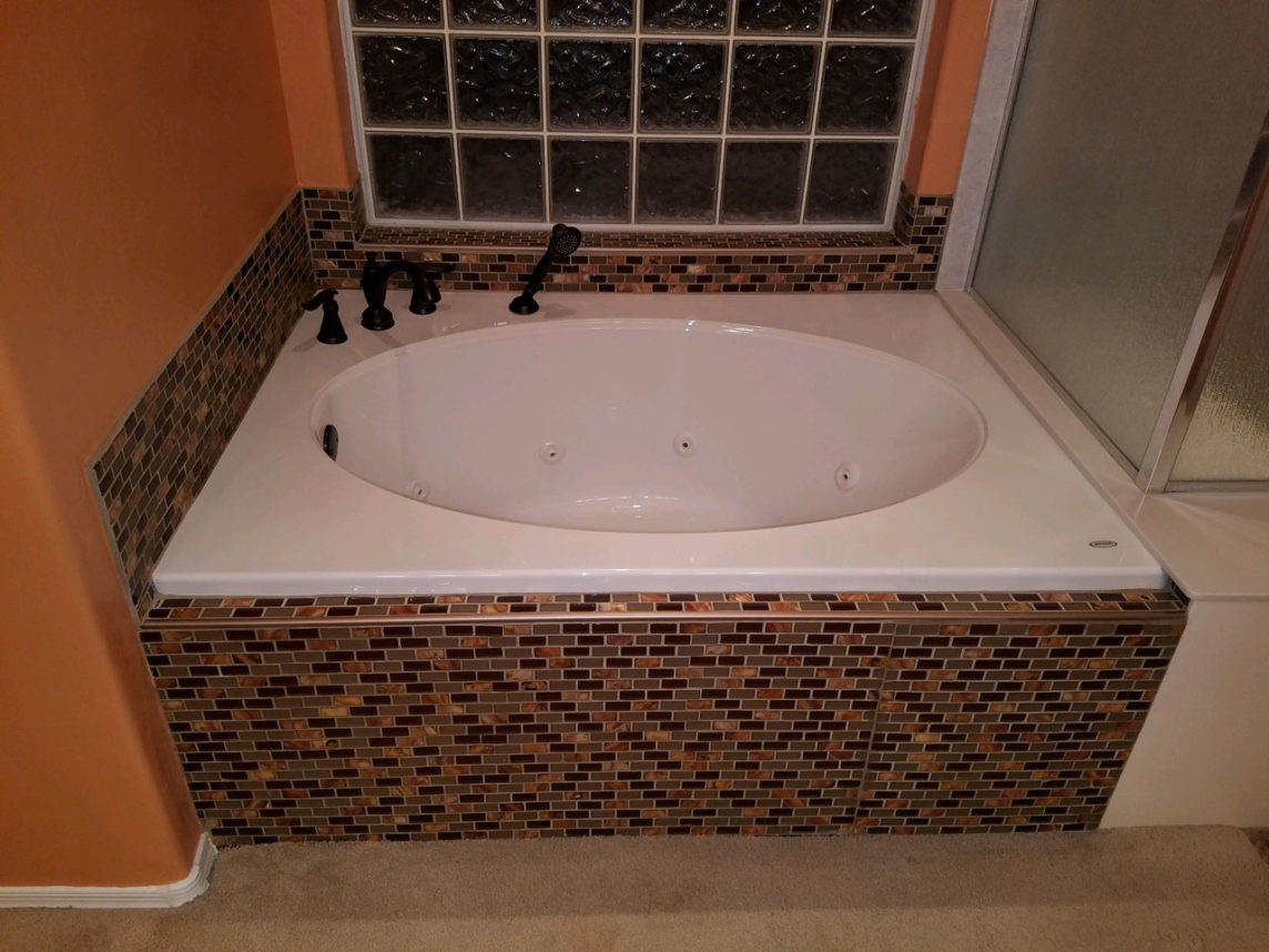 Finished Bath Installation with Tile Finish